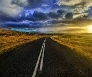 road, sunset, and landscape image