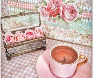 cofee, heart, and pink image
