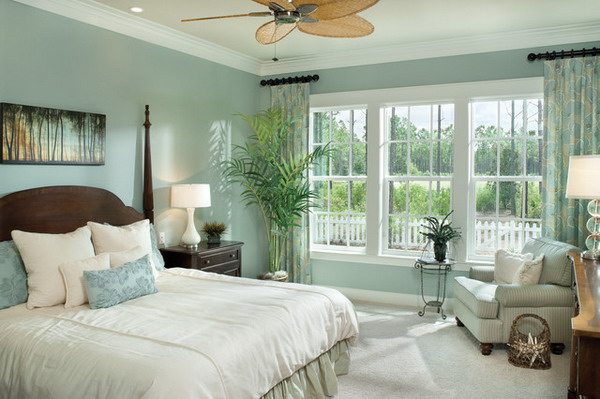 Bedroom Designs. The Ideas Of Soothing Paint Colors For Bedroom: Calming  Color Of The Bedroom With White Bed And White Ceiling And Light Blue Wall  And Glass ...