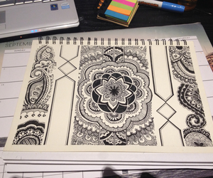 black and white, design, and zentangle image