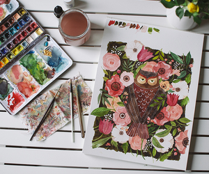 art, owl, and paint image
