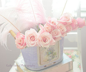 flowers, pastel, and book image