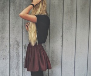 blonde, burgundy, and fashion image