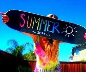 summer, girl, and skateboard image