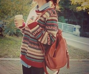 coffee, fall, and girl image