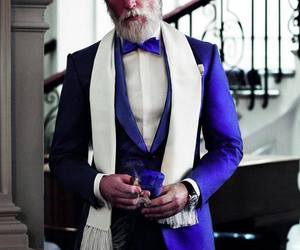 suit, beard, and blue image