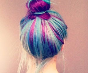 bun, colorful, and coloured hair image