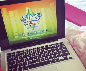 games, laptop, and the sims image