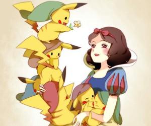pikachu, snow white, and pokemon image