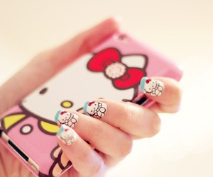 hello kitty, nails, and pink image