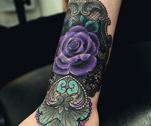 floral, inked, and flower image