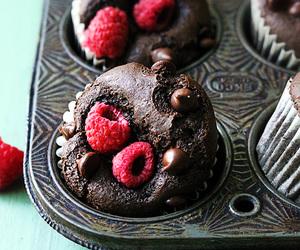 chocolate, muffins, and raspberry image