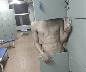 abs, hot guy, and peace image