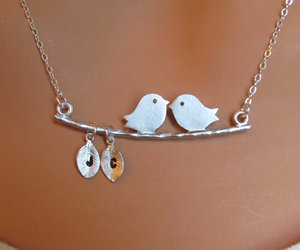 silver, jewellery, and love birds image