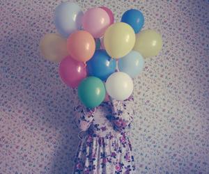balloons, girl, and dress image