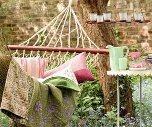 hammock, flowers, and garden image