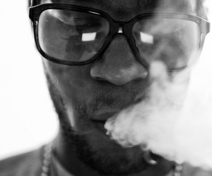 kid cudi, smoke, and black and white image