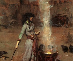 fire, painting, and witch image