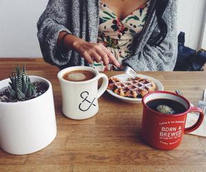 coffee, breakfast, and waffles image