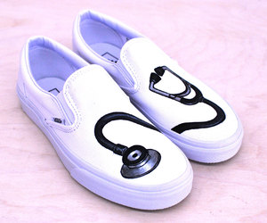 custom vans shoes, painted vans trainers, and stethoscope vans shoes image