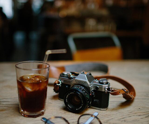 camera, glasses, and drink image