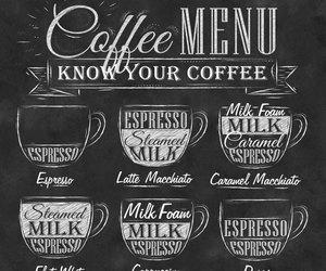 coffee, menu, and espresso image