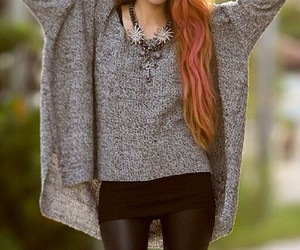 pink hair, black leather pants, and red hair image