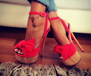 beautiful, high heels, and red image