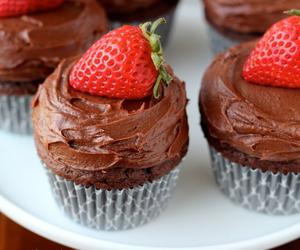 cupcake, strawberry, and chocolate image