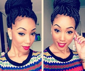 hair, braids, and box braids image