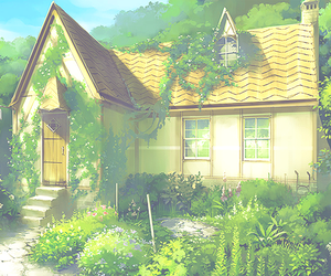 anime, green, and house image