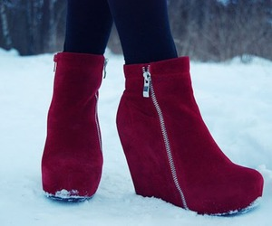 red, shoes, and snow image