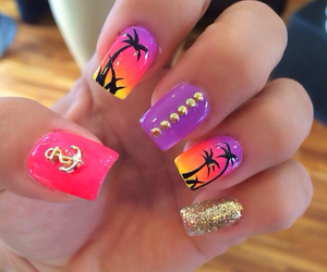 nails, colors, and summer image
