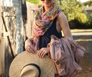 fashion, hat, and scarf image