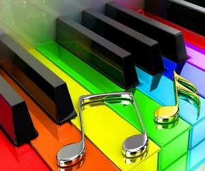 music, rainbow, and music notes image