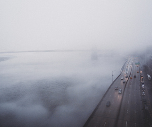fog, city, and road image