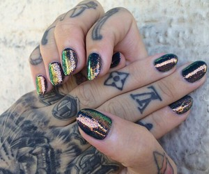 nails, tattoo, and glitter image