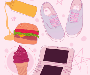 pink, ice cream, and burger image