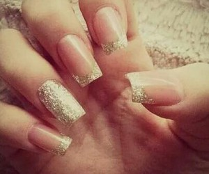 gold nails, french tip, and gold french tip image