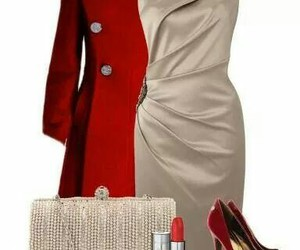 red heels, red lips, and formal outfit image