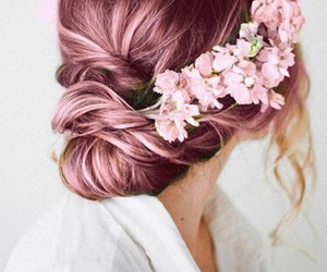 pink flowers, bridal hairstyle, and pink hairstyle image