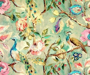 flowers, bird, and wallpaper image