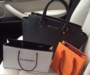 black, chanel, and gold image