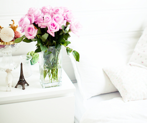 flowers, pink, and bed image