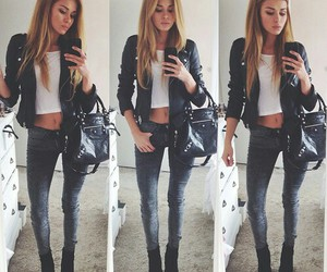casual, leather coat, and girl image