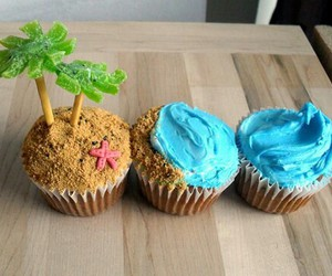 cupcake, beach, and food image