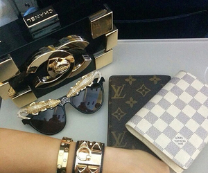 chanel, Louis Vuitton, and sunglasses image