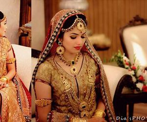 beautiful, bridal, and golden image