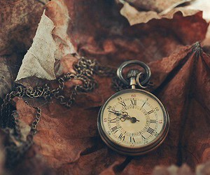 clock, autumn, and leaves image