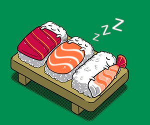 sushi, cute, and sleep image